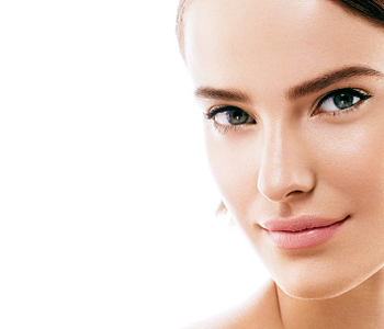 Dr Gerald N. Bock, MD California Skin & Laser Center Beauty Woman face with perfect skin Portrait. Isolated on white.