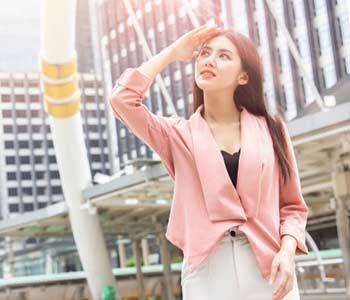 Asian office women skin damage from sun